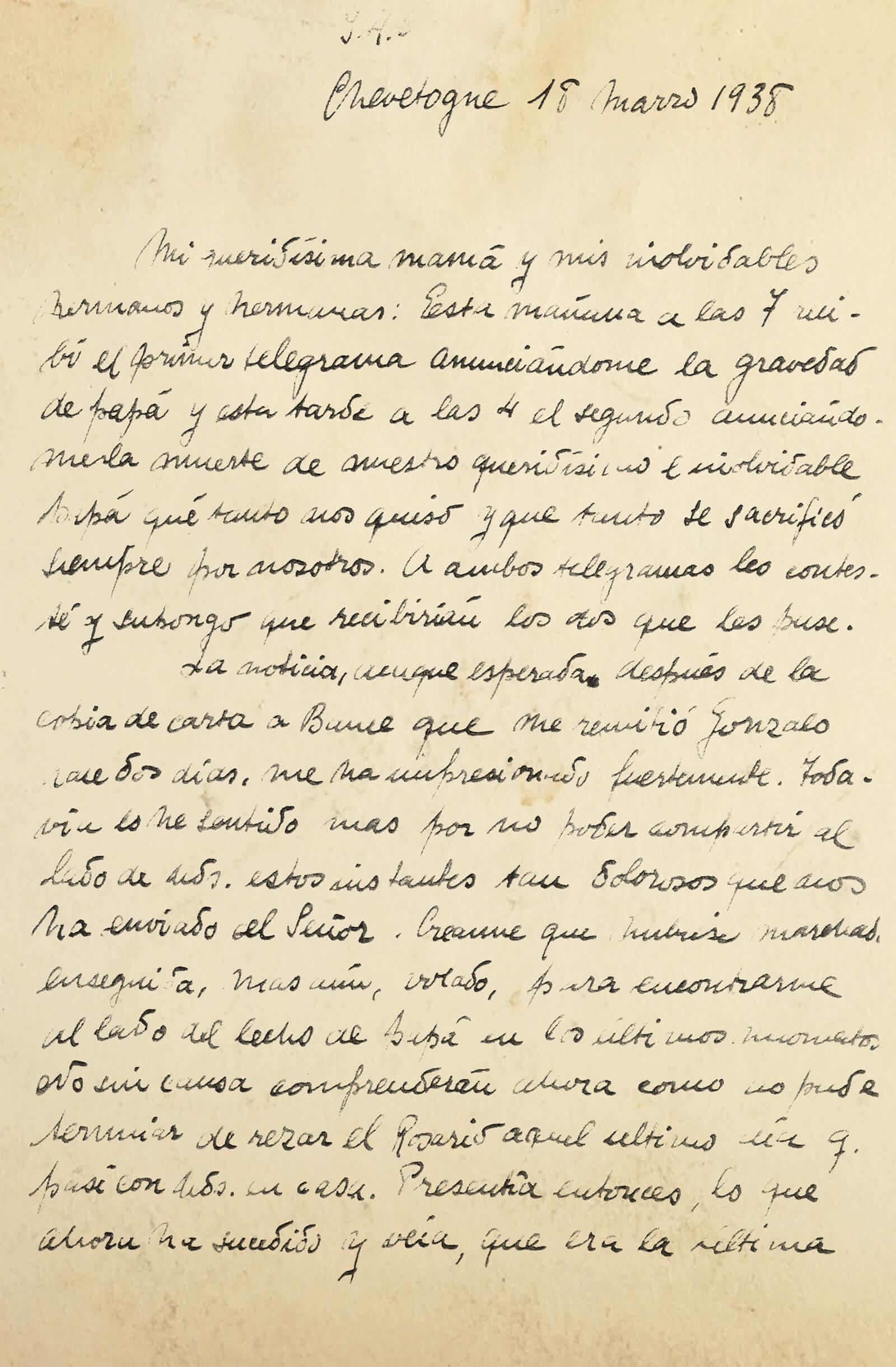 Detalle de la carta del 18 de marzo de 1938