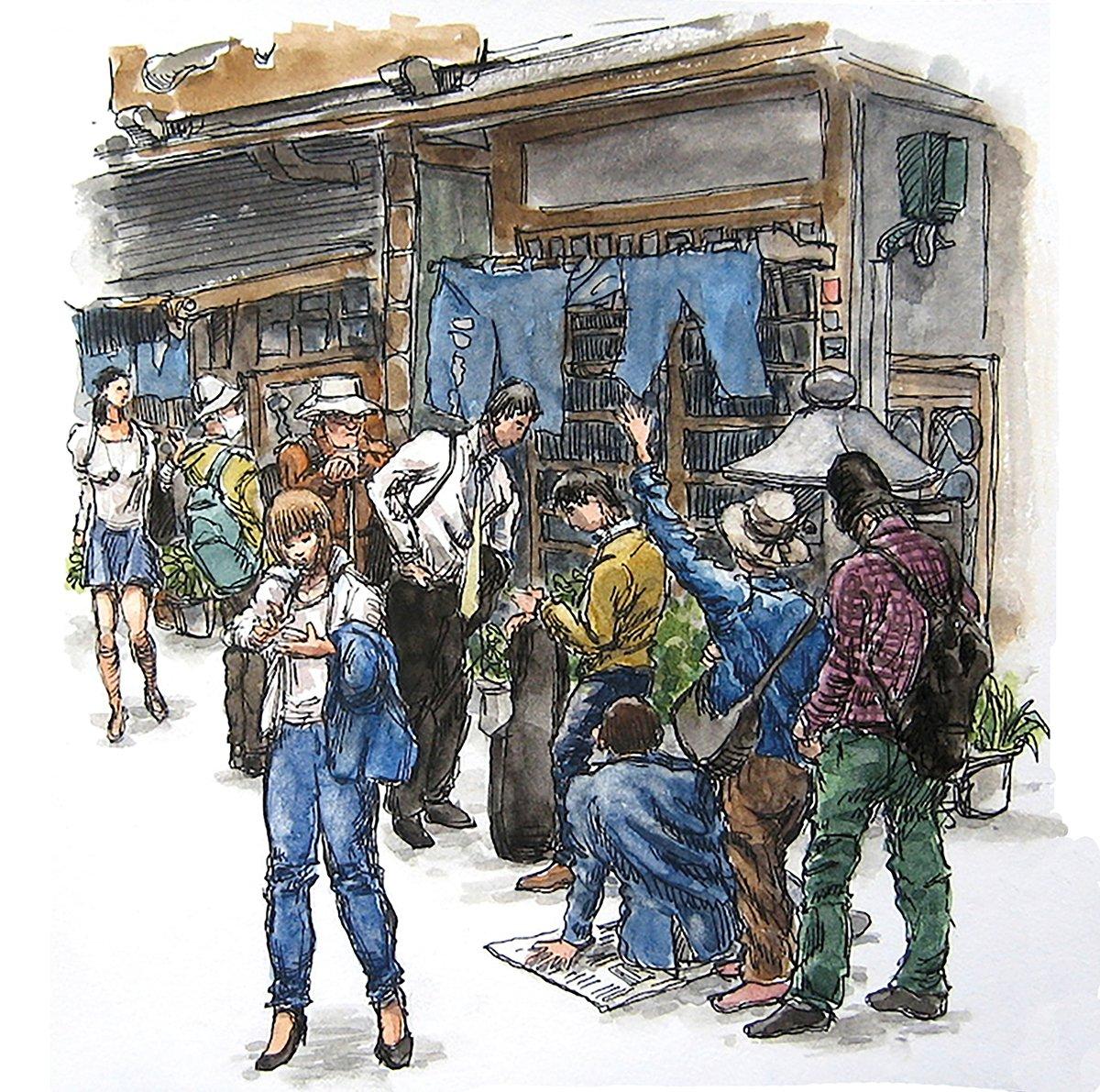 Boceto de escena callejera de Russell Stutler