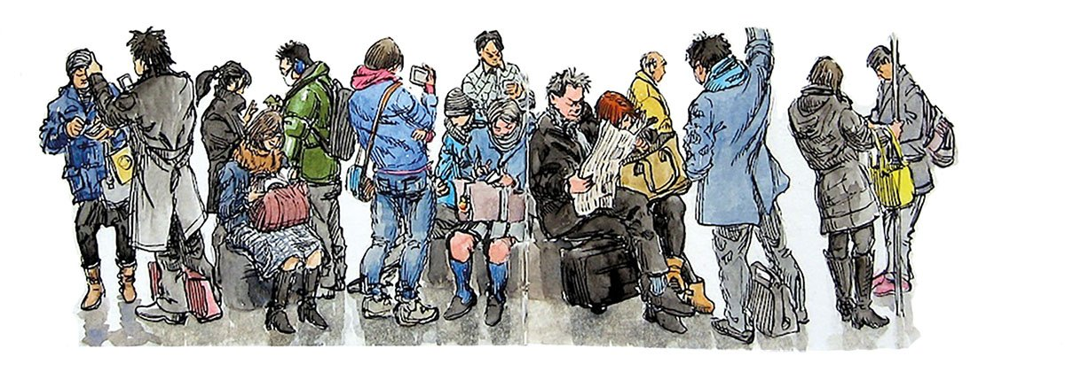 Uno de los bocetos de Russell Stutler inspirados en el metro