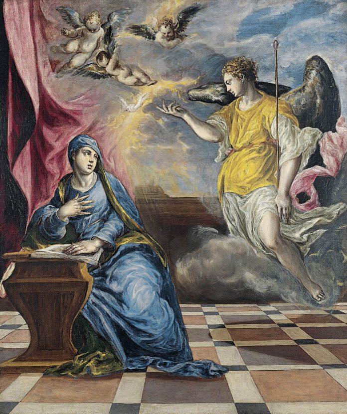 La Anunciación (El Greco, 1576) Museo Thyssen Bornemisza