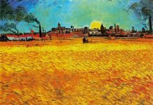 Van Gogh, campo de trigo a la puesta del sol