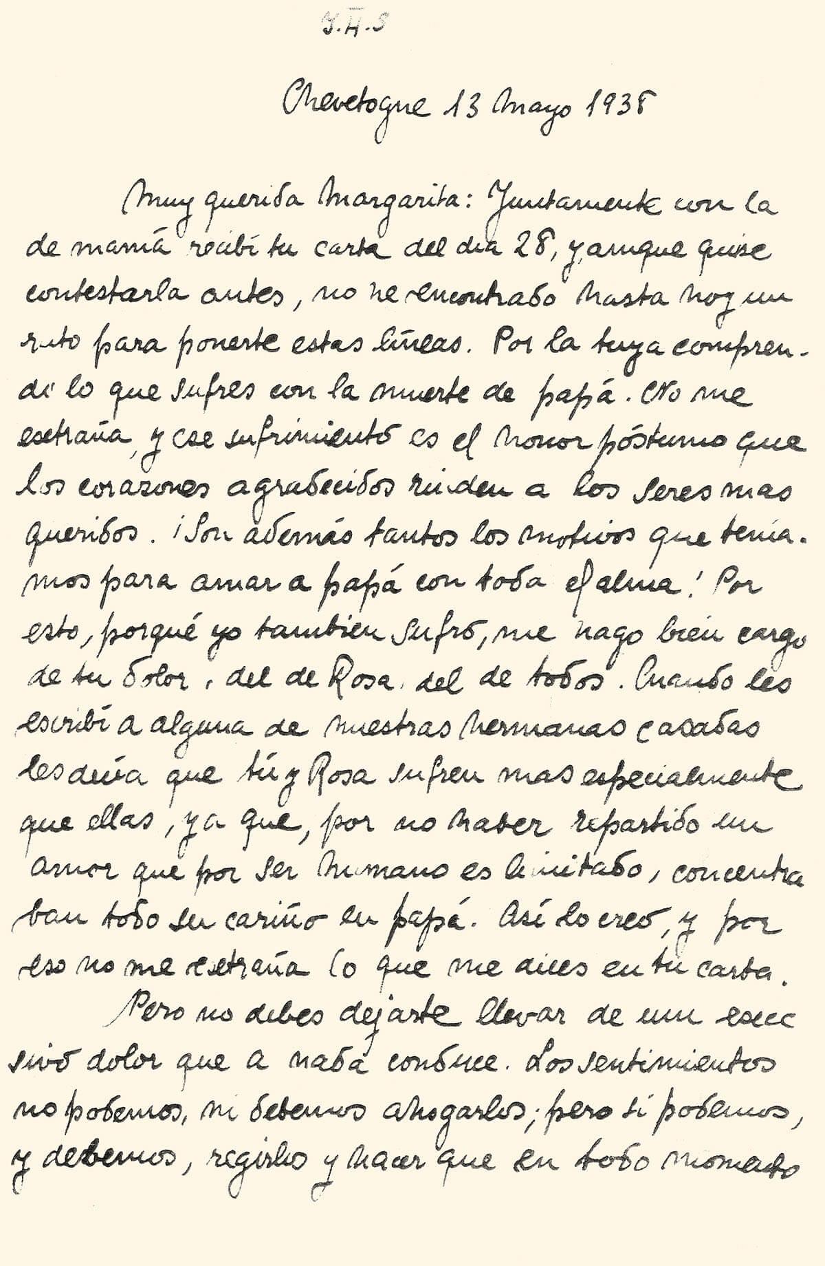 Fragmento de la carta a Margarita