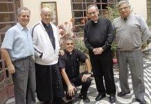 De izquierda a derecha, José A. Benito, P. Juan Álvarez, P. Alfonso Tapia, P. Santiago Manso e Iván landa