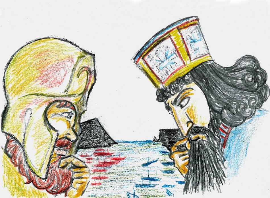 La batalla de Salamina. Ilustración: Juan Francisco Miral