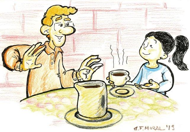Chocolate a la taza. Ilustración: Juan Francisco Miral
