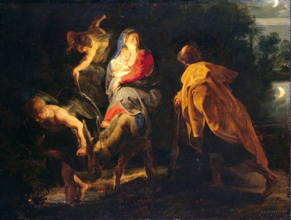 Huida a Egipto, Rubens. 1614. Museo de Kassel, Alemania. Óleo sobre tabla (53 x 40,5 cm).