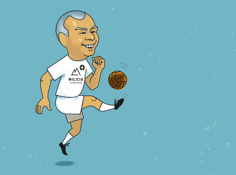Abe y el fútbol. Ilustración: José Miguel de la Peña