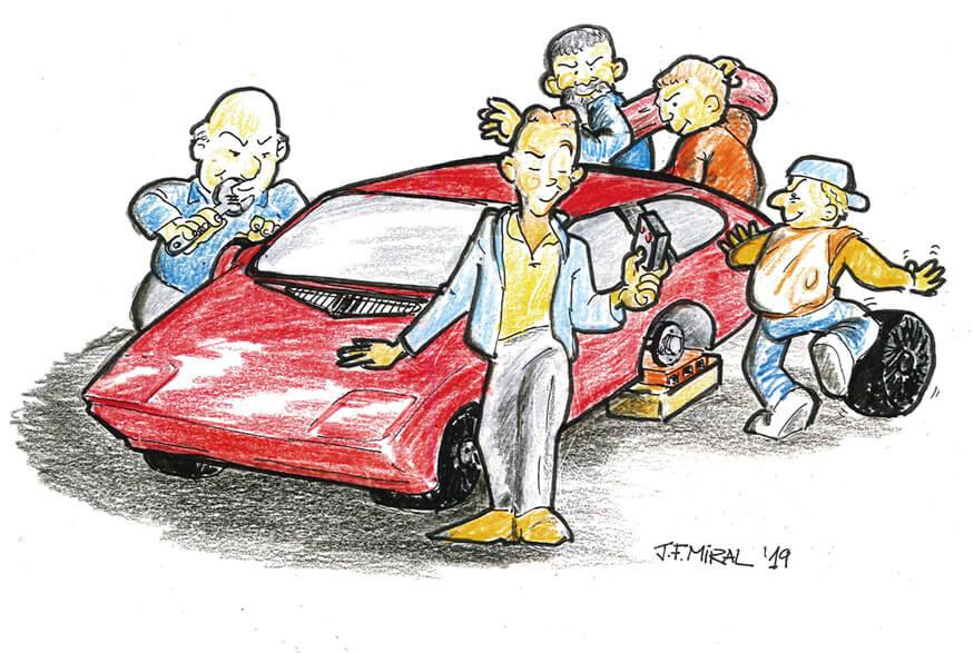 Auto roto. Ilustración: Juan Francisco Miral