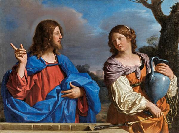 Jesús y la samaritana en el pozo. II Guercino (Giovanni Francesco Barbieri). Museo Thyssen-Bornemisza, Madrid