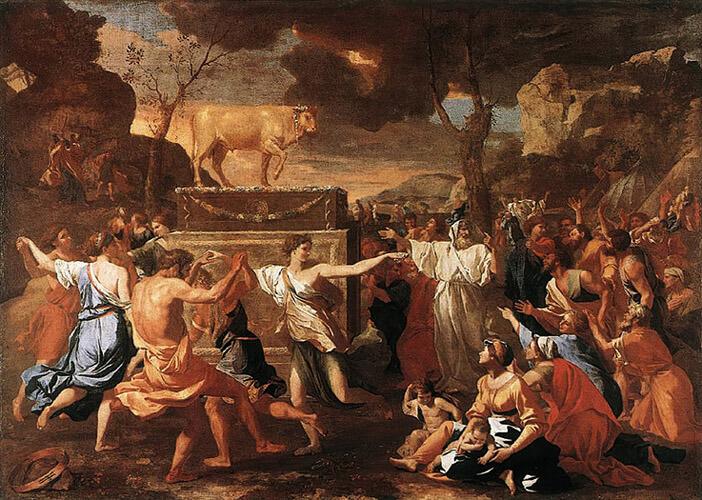 La adoración del becerro de oro. Nicolás Poussin (1634). National Gallery, Londres